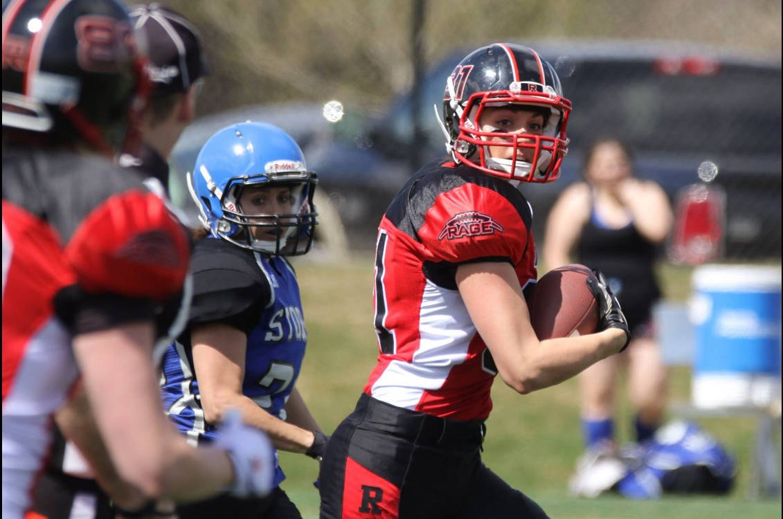 Calgary Rage receiver Alicia Wilson of the Western Women's Canadian Football League is among the Team Canada players in Langley this month for the IFAF women's world tackle football championships. Mike Drew for the Calgary Rage