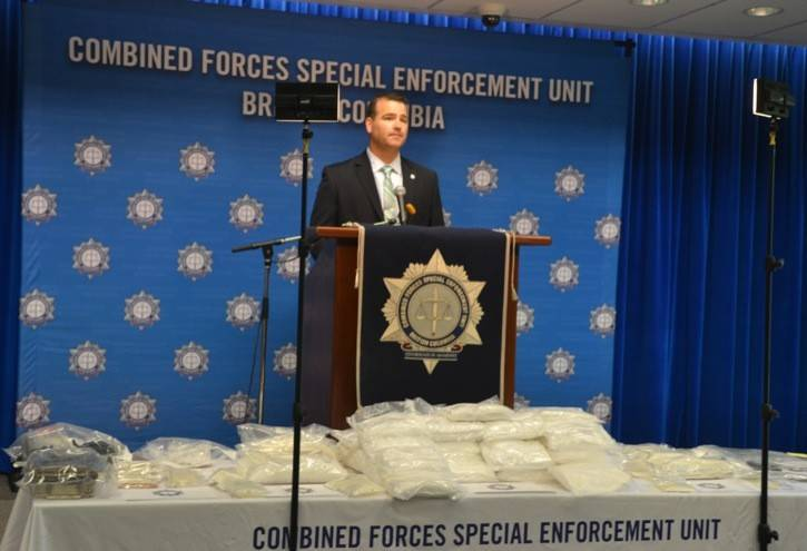 Sgt. Lindsay Houghton, of the gang unit, held a press conference in July 2014 to show the $400,000 worth of drugs seized along with drug-making equipment from a mansion on 236 Street in Langley. Two men were charged in connection to the drug house. One of them is Leonard Pelletier whose trial is underway. The other, Jason Wallace, has already pleaded guilty and will be sentenced this month.