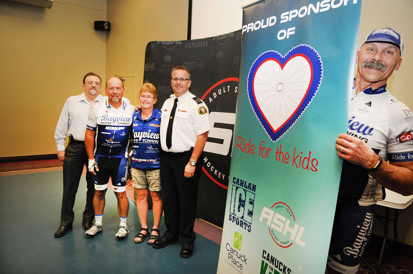 Supporting or taking part in this year's Ride for the Kids benefiting Canuck Place Children's Hospice are, left to right, Anthony Munroe, Rob Neufeld, Cheryl Lydynuik, Monty Armstrong, and Jeff Bandura. The 165 km cycling fundraiser begins and ends at Langley Twin Rinks on Wednesday, July 12. Troy Landreville Langley Times