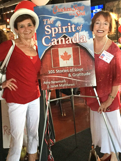 Frances McGuckin with author Elizabeth Smayda at the official launch for Chicken Soup for the Soul: The Spirit of Canada, in Toronto on June 13.