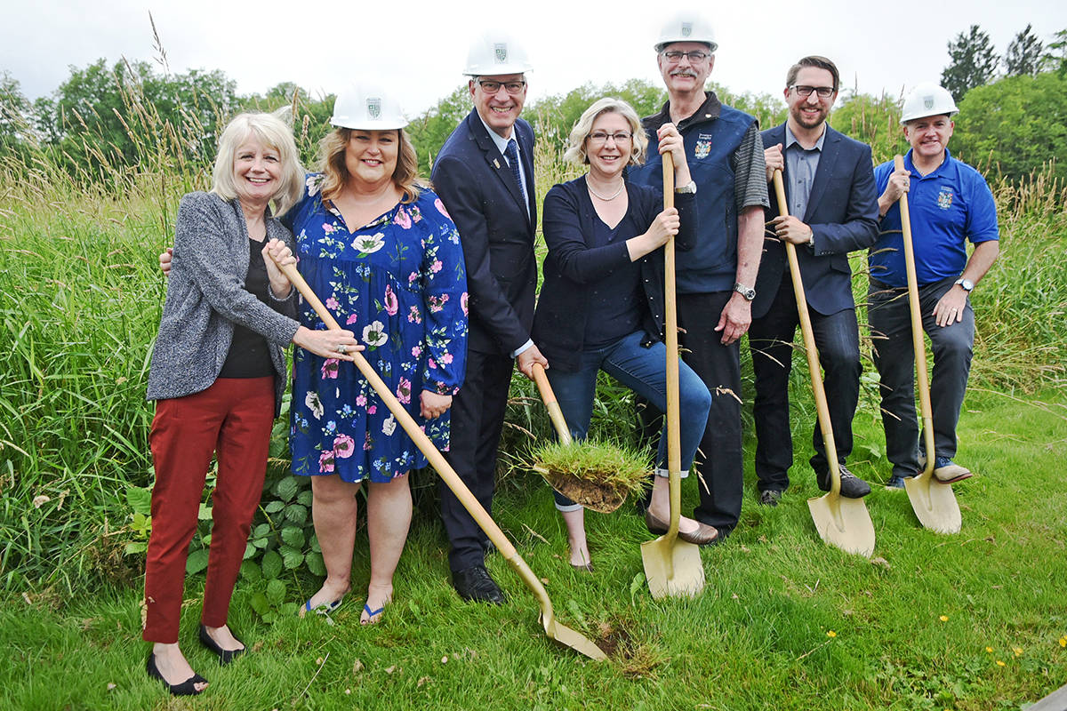 Ground was broken on the new Langley Youth Resource Centre on Tuesday morning. On hand for the ceremony were (from left): Executive Director of Encompass Support Services Society Lynne Topham, Councillor Angie Quaale, Mayor Jack Froese, Langley MLA Mary Polak, Councillor Charlie Fox, Director of Operations and Organizational Development for Encompass Loren Roberts and Councillor Blair Whitmarsh.                                Miranda Gathercole Langley Times.