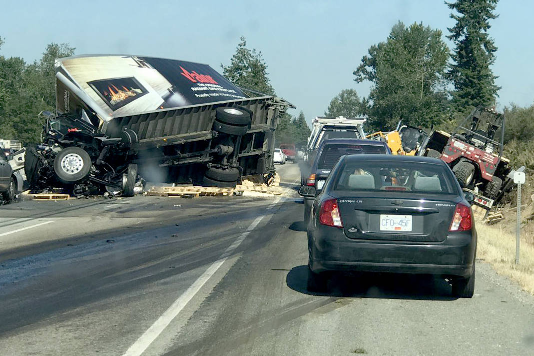 Highway 1 closed westbound in Langley after truck crash – Langley