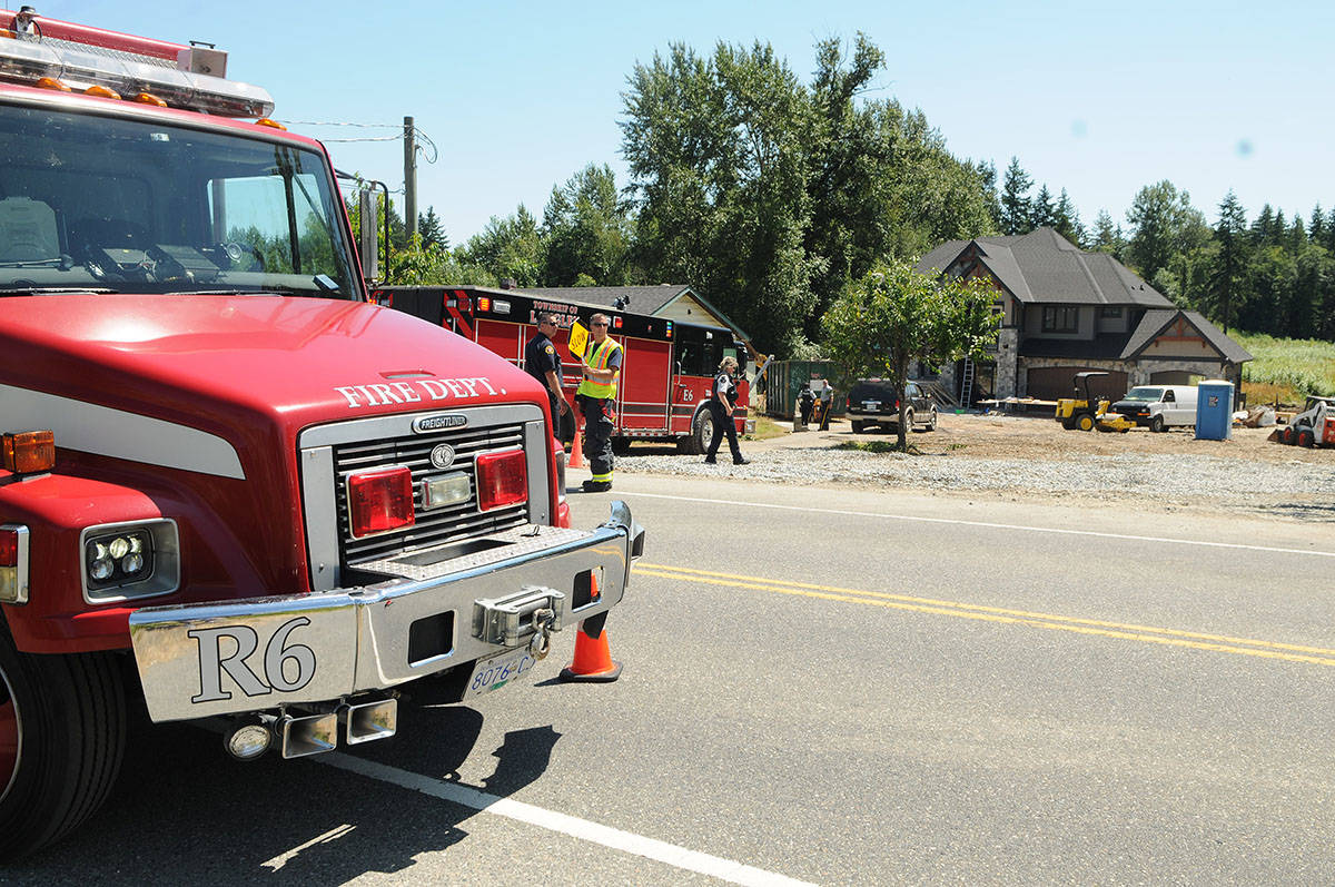 Emergency responders were on scene at the 23800 block of 40 Avenue after a man was badly injured in a workplace accident on Wednesday afternoon. Troy Landreville Langley Times