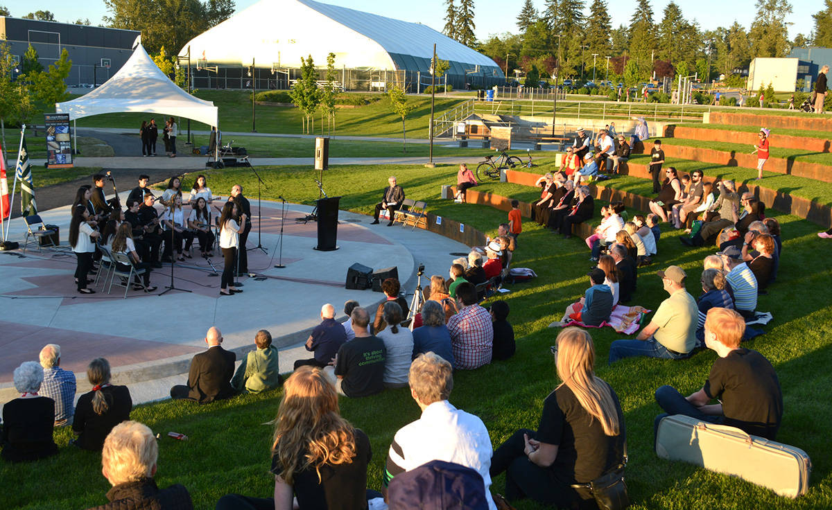 Langley Ukulele Ensemble performed as part of the opening ceremonies for the new Canada 150 Amphitheatre at Langley Events Centre. The LUE's recent trip to Honolulu was a rousing success, according to resident Frank Mauz.                                Submitted photo