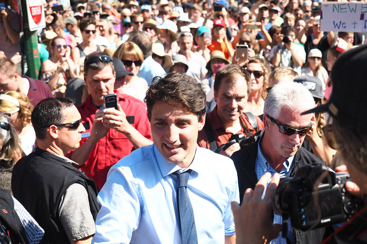 Prime Minister Justin Trudeau is mobbed upon his arrival in Revelstoke on Saturday. ~ Photo by Alex Cooper, Revelstoke Review