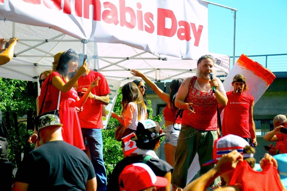 Hundreds of people showed up to a Cannabis Culture rally at Thornton Park on Canada Day. (Katya Slepian/Black Press)