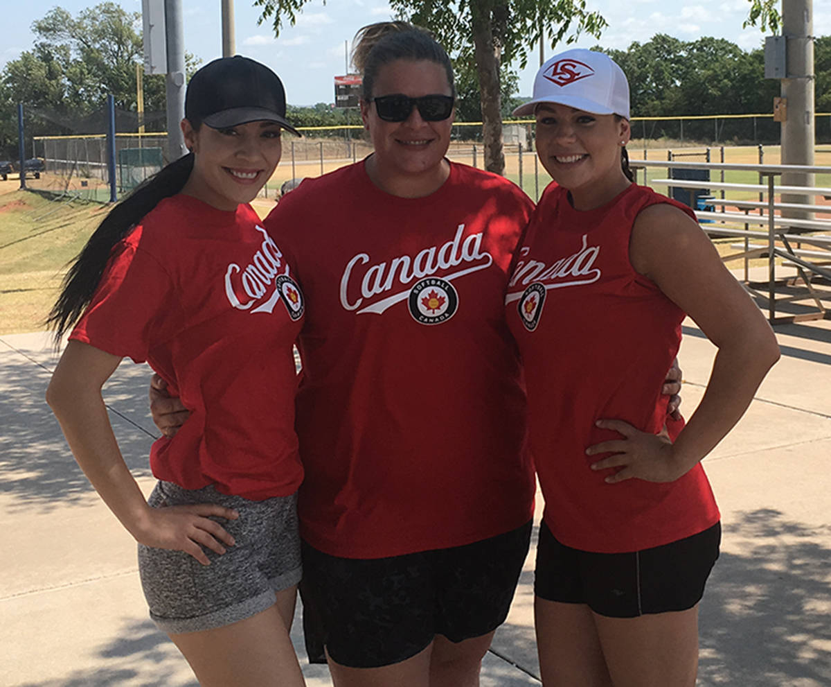 Tonya Guldbrandsen (left to right), Jackie Bates and Tina Guldbrandsen helped Team Canada win gold at the inaugural Border Battle in Oklahoma City. The Langley trio were part of the first-ever Canadian women's national slo-pitch team.                                 Submitted photo