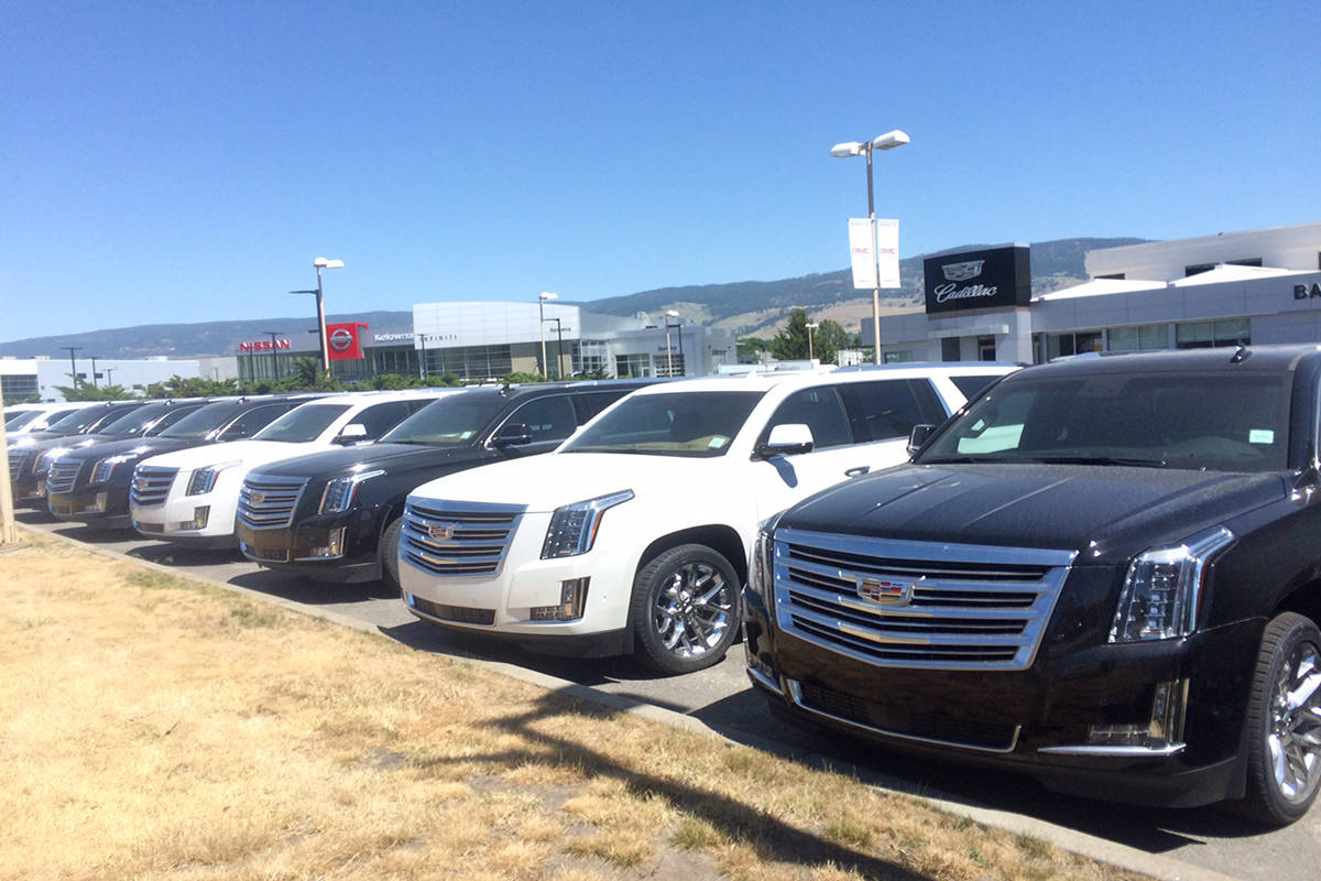 Impact in Kelowna of the robust new vehicle sales market across Canada is evident by local auto dealerships relocating to new premises along Highway 97. - Image Credit: Barry Gerding/Black Press
