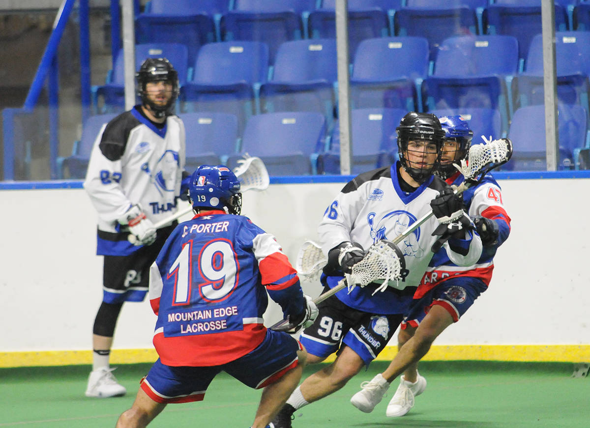 Ryan Martel was named the BC Junior A Lacrosse League rookie of the year, as well as a first team all-star. Martel also played in seven games with the senior A men's Thunder squad, registering five goals.                                 Gary Ahuja Langley Times file photo