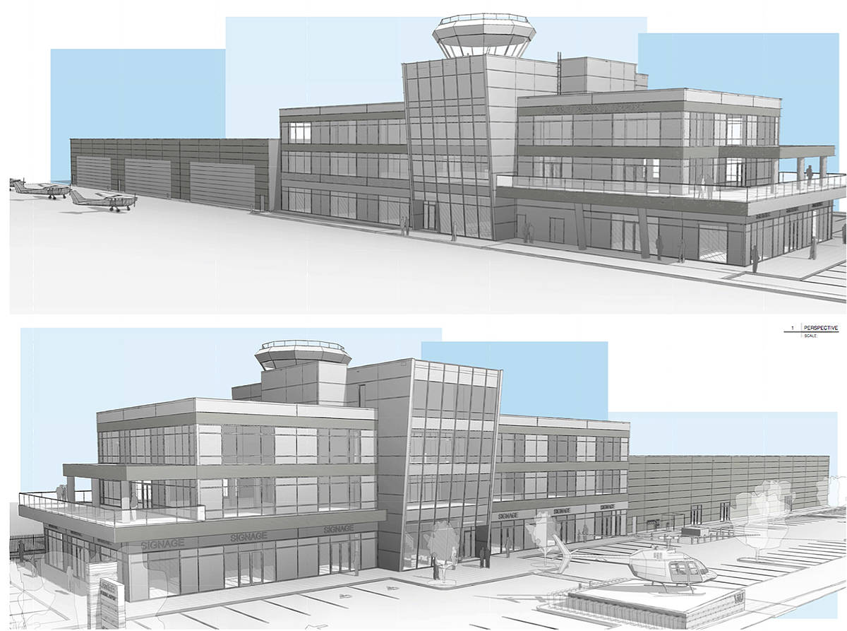 Drawing of new Langley Regional Airport terminal building. Supplied