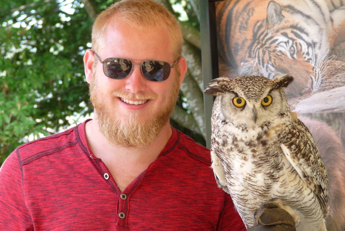 Dilan Praat of the Greater Vancouver Zoo introduced visitors to Hagrid the owl, as the Aldergrove zoo celebrated its 47th anniversary on the weekend. The event drew crowds. Dan Ferguson Langley Times