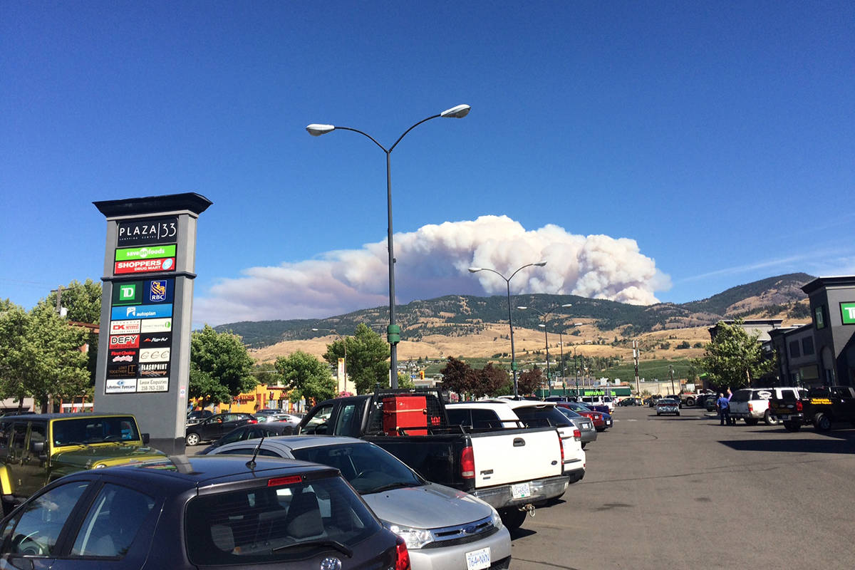 The out-of-control fire near Philpott Road, 20 kilometres east of Kelowna, is described as massive and has forced an evacuation of the area.—Image credit: Barry Gerding/CapitalNews