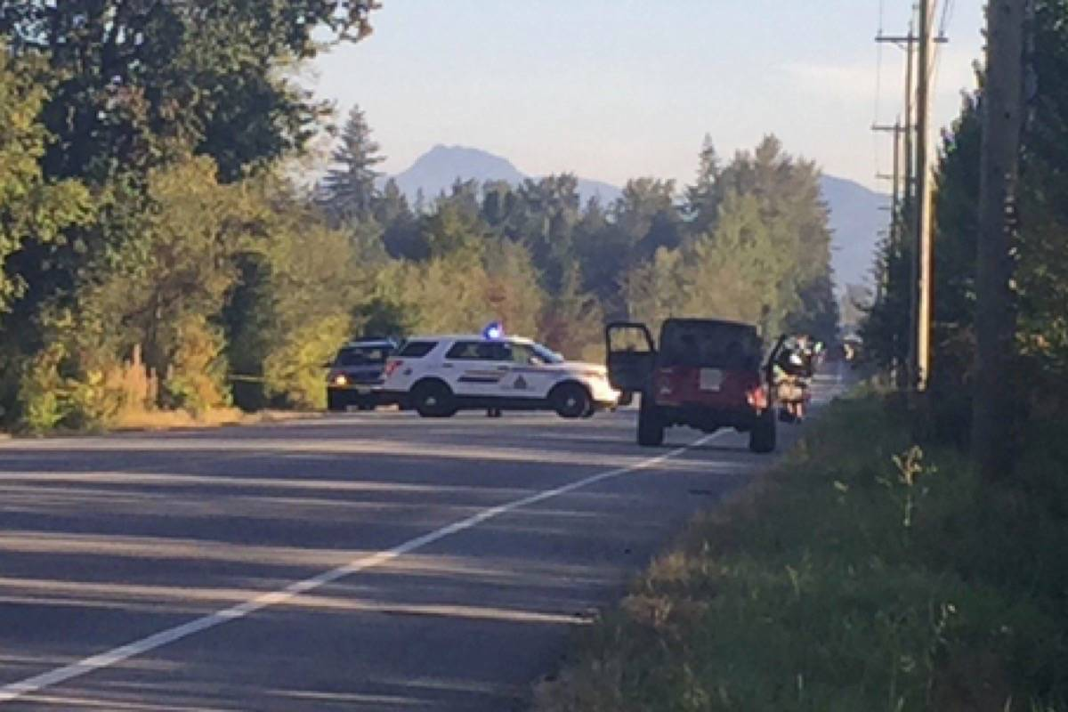 Police gather at 232 Street and 64 Avenue in Langley on Friday morning. Image credit: Gary Ahuja.