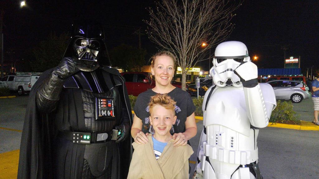 """Tia Mitchell and her son Dexter were among the 100 or so people who lined up outside the Langley Toys """"R"""" Us for a special midnight opening of the store to celebrate the launch of The Last Jedi toys and collectables. Submitted photo"""