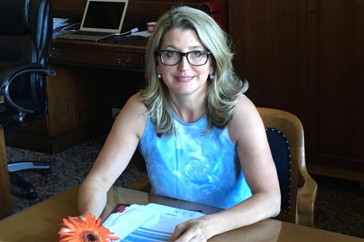 Agriculture Minister Lana Popham at her ministry office in Victoria, Sept. 1, 2017. (Tom Fletcher/Black Press)