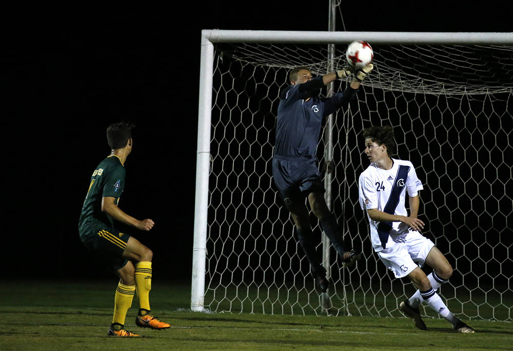 Trinity Western Spartans rookie goalkeeper Sebastian Colyn made two saves to earn his first career shutout on Friday (Sept. 1) at TWU's Chase Office Field. The Spartans men's soccer team played to a pair of draws over the weekend against the UNBC Timberwolves. Scott Stewart TWU Athletics
