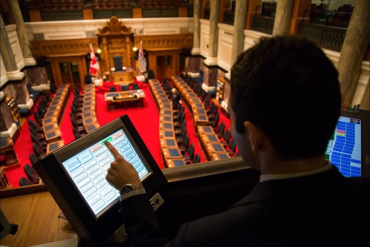 Technician tests equipment for opening of the B.C. legislature, which begins with the NDP government's inaugural throne speech Friday. (Legislative Assembly of B.C./Twitter)
