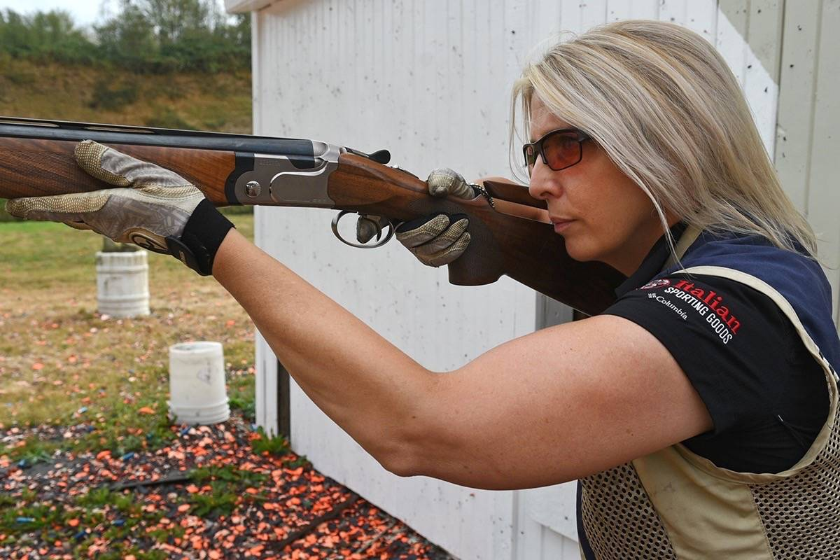 Elaine Hoeppner is one of only two women who do skeet shooting at the Langley Rod and Gun Club. Miranda Gathercole Langley Times.