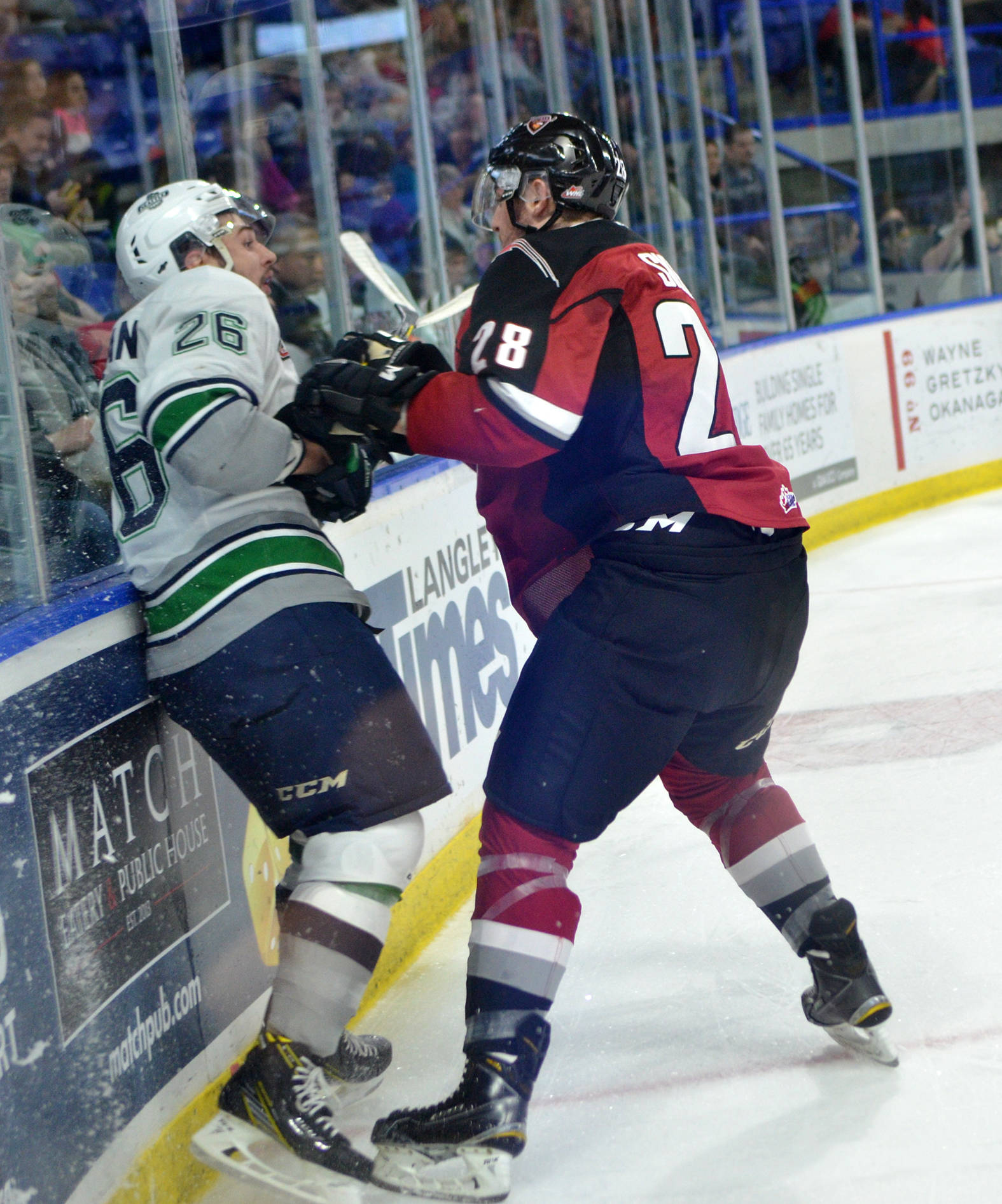 Darian Skeoch (right) was one of the most physical members of the Vancouver Giants last season. Gary Ahuja Langley Times file photo