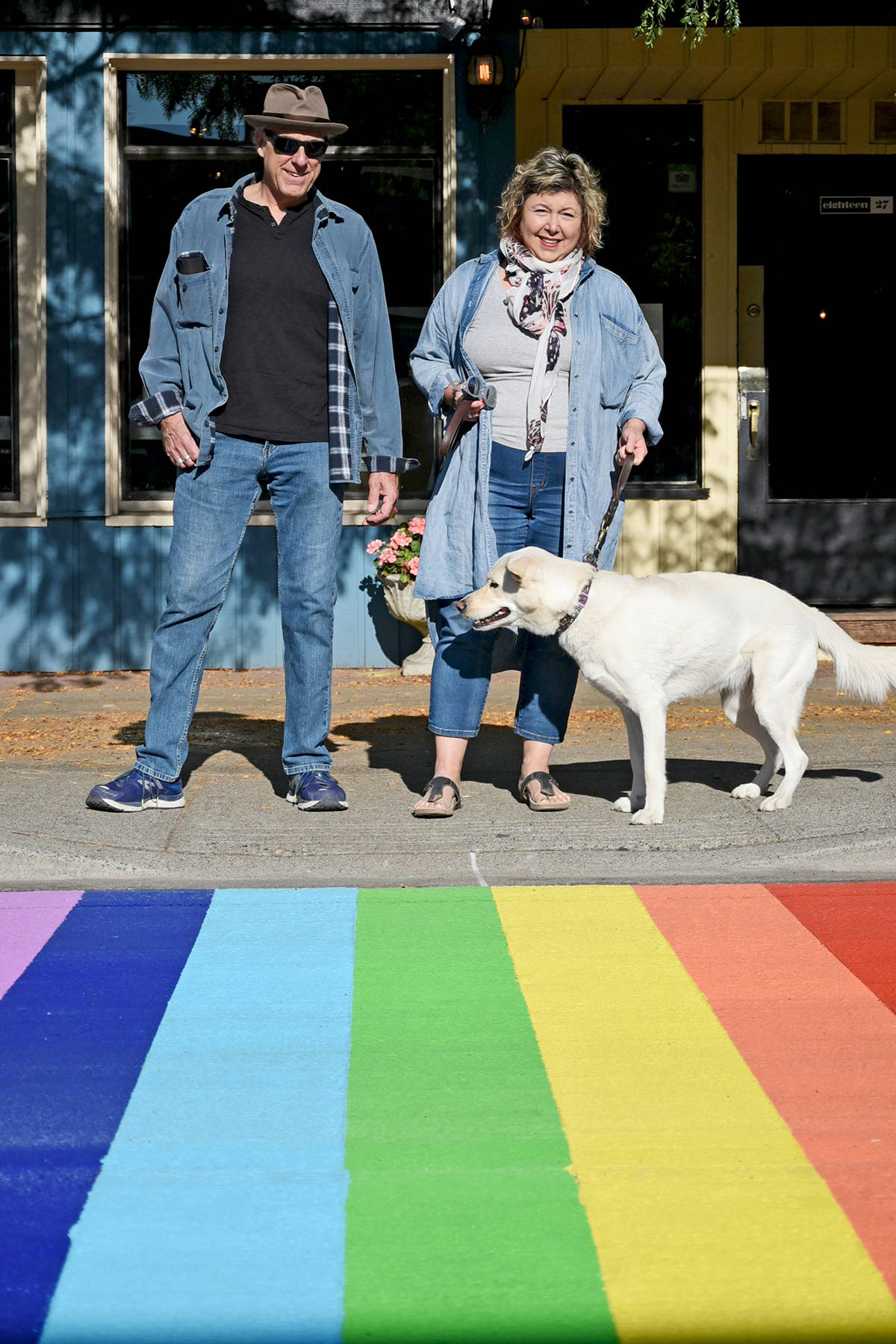 Elaine Brewer-White and husband Gordon White with their dog, Audrey. Miranda Gathercole Langley Times.