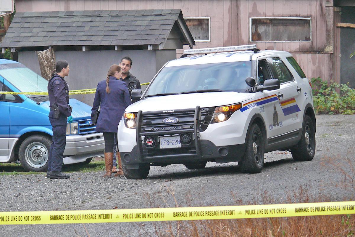 Police attend the scene of an Aldergrove shooting incident Wednesday. Dan Ferguson Langley Times