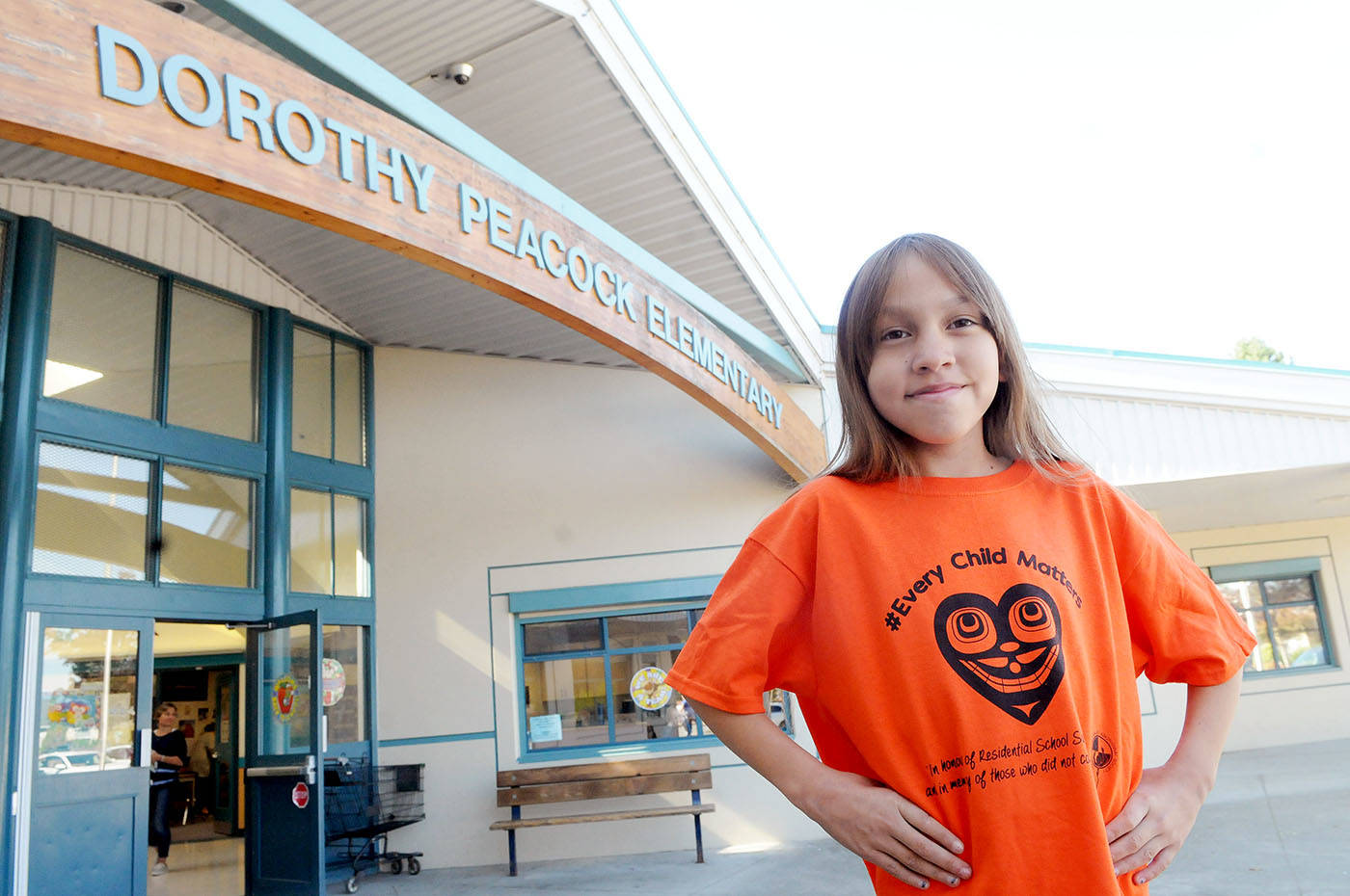 Dorothy Peacock Grade 5 student designs this year's Orange Shirt