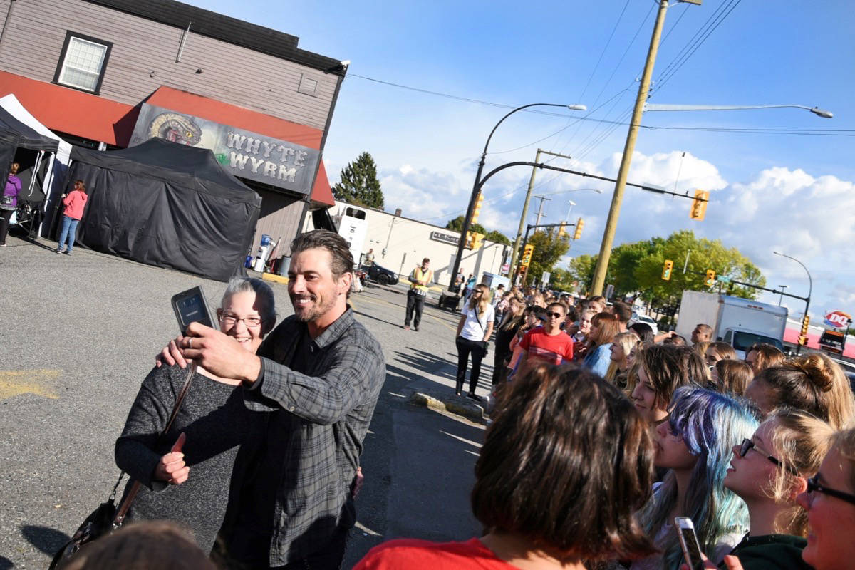 Actor Skeet Ulrich took selfies with Riverdale fans outside of Gabby's Country Cabaret on Wednesday. Miranda Gathercole Langley Times.