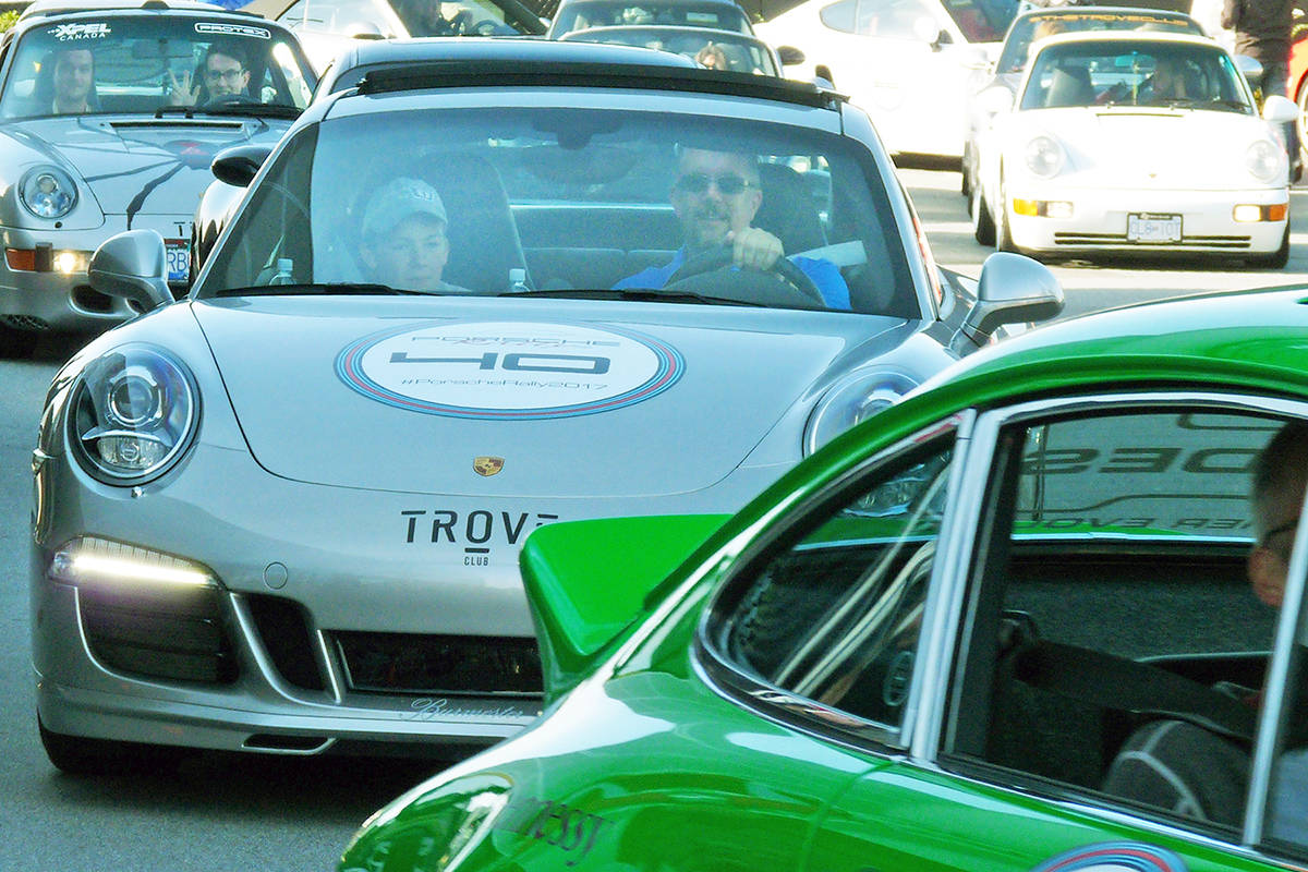 About 100 cars took part in the first Porsche rally from Langley to Whistler Saturday. Money raised by the event was going to support Pemberton firefighters. Dan Ferguson Langley Times