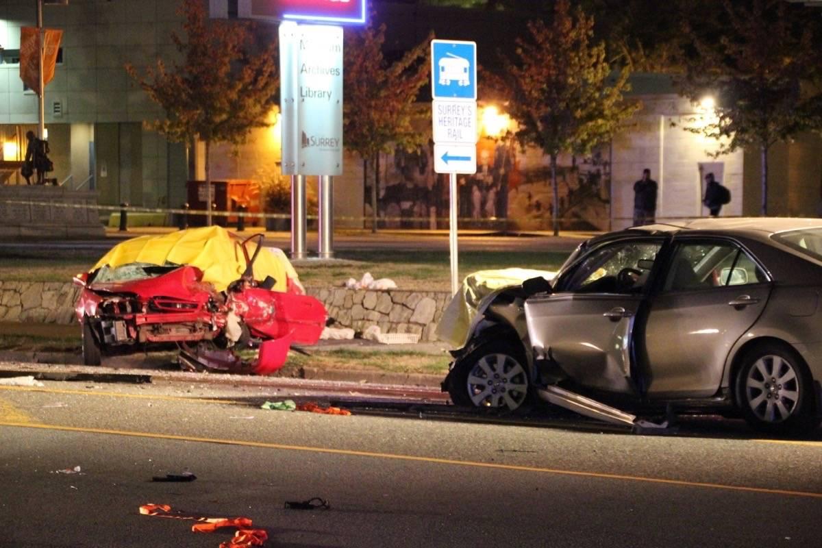 Police and paramedics respond to a fatal crash on Hwy. 10. (Shane MacKichan photo)