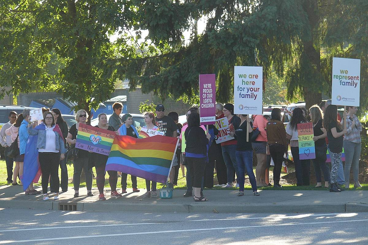 Dozens of people demonstrated outside the Langley School District offices to show support for LGBTQ youth. Dan Ferguson Langley Times
