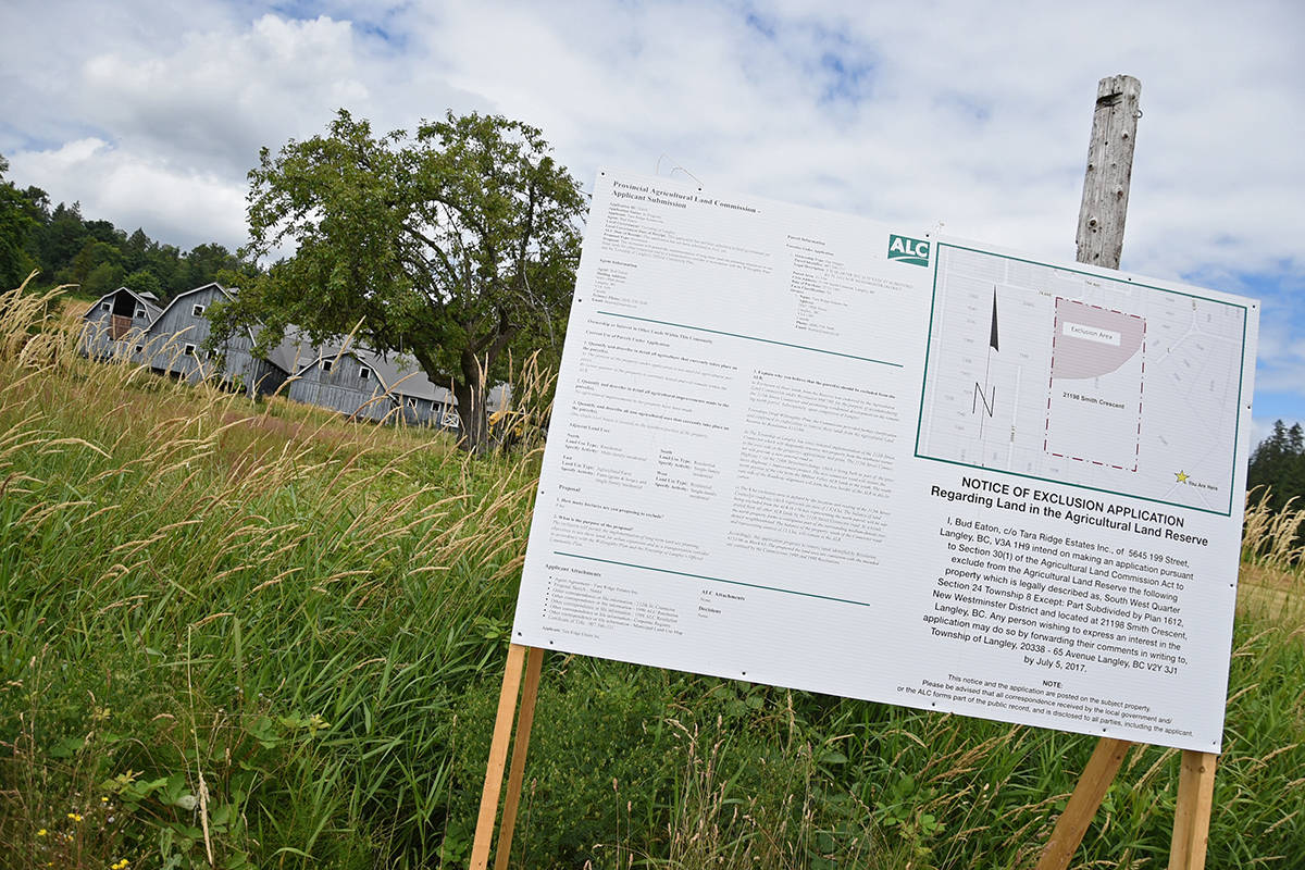 ALC exclusion application notice in front of the Tara Farms property. Miranda Gathercole Langley Times