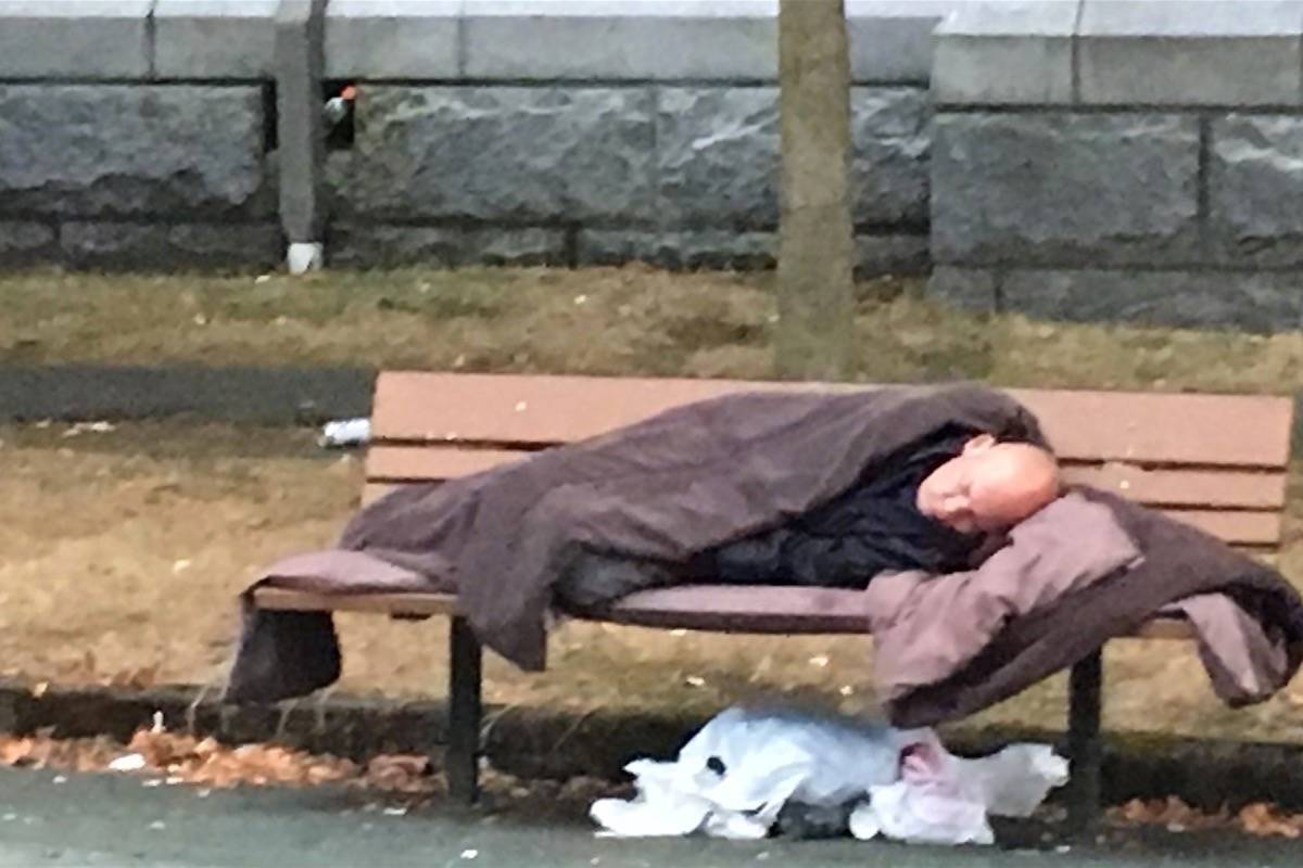 Man sleeps on a park bench next to Christ Church Cathedral in Victoria, October 2017. (Tom Fletcher/Black Press)