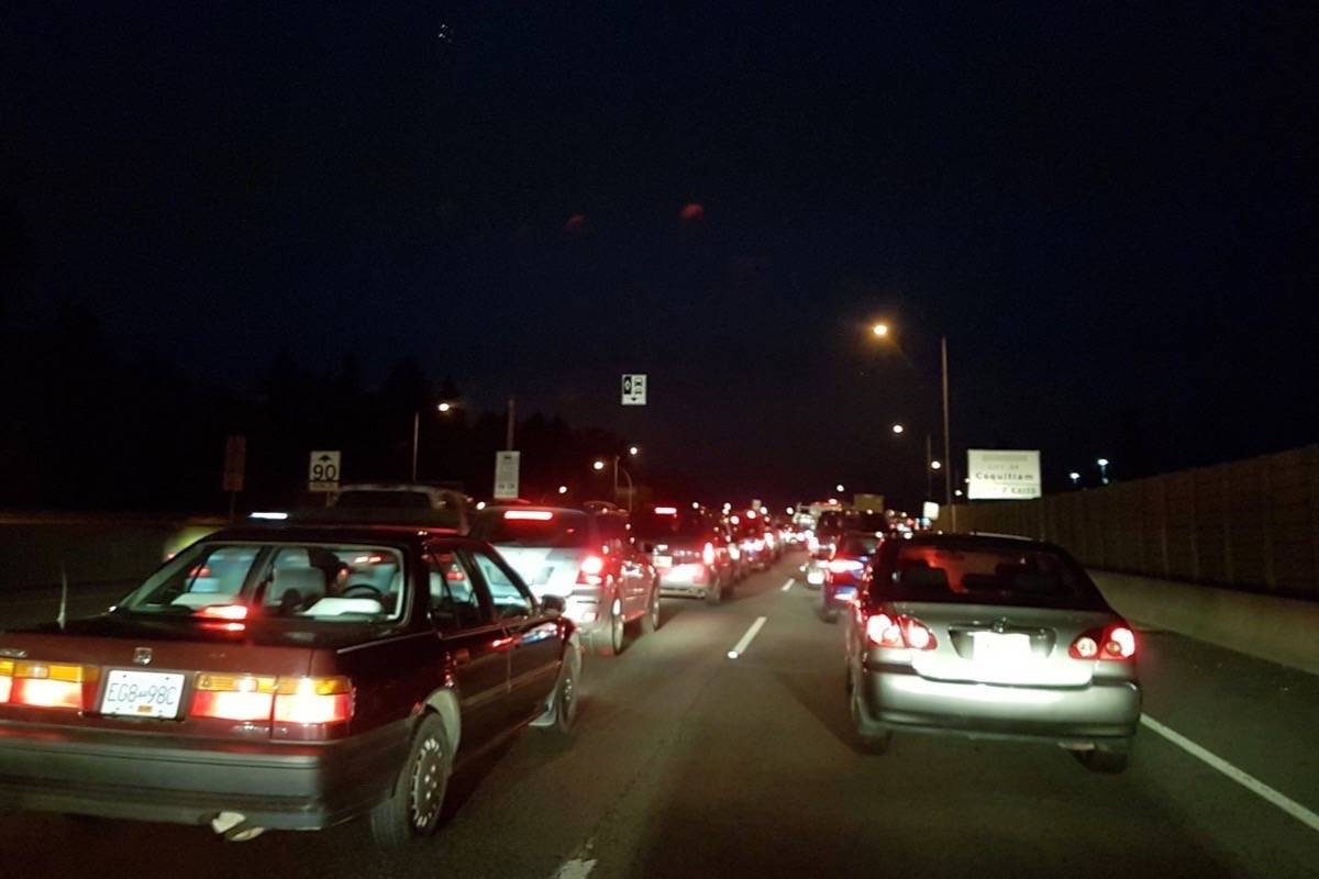 Traffic is slow across the Port Mann Bridge Monday morning following an accident. (WFLBC/Twitter)
