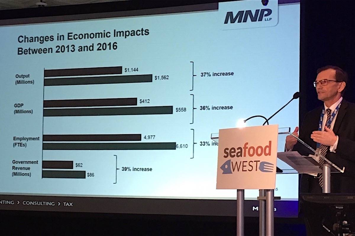 Ed Mansfield of accounting firm MNP presents data on the growth of the B.C. aquaculture industry, Victoria, Oct. 11, 2017. (Tom Fletcher/Black Press)