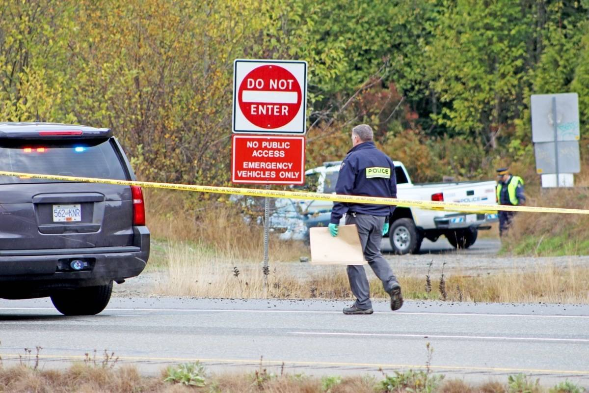 RCMP is investigating a body that was found near the side of Highway 19 heading northbound just before the Corcan Road overpass. As of Thursday morning (Oct. 12), RCMP had the right lane of the highway blocked off to traffic. — Lauren Collins photo