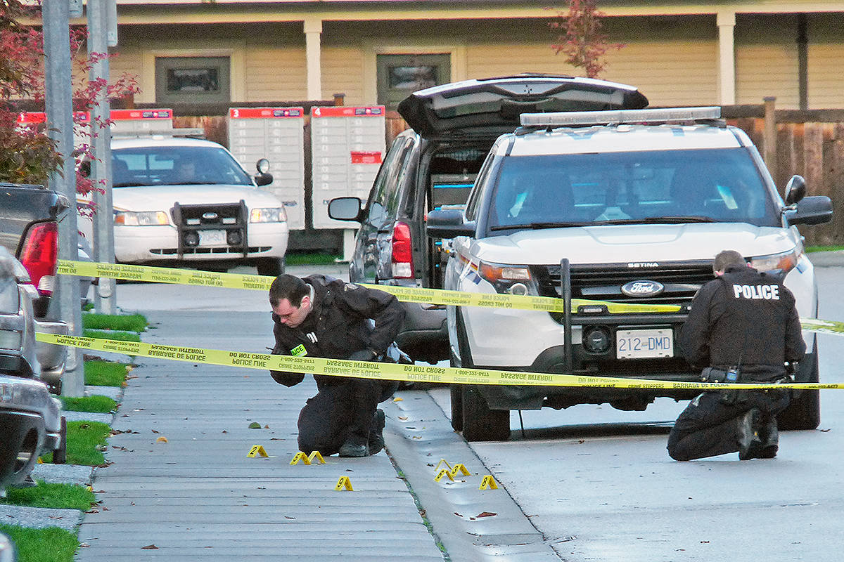 Police investigate the scene of an apparent drive-by shooting in Willoughby. Multiple shots were fired early Sunday morning. Dan Ferguson Langley Times