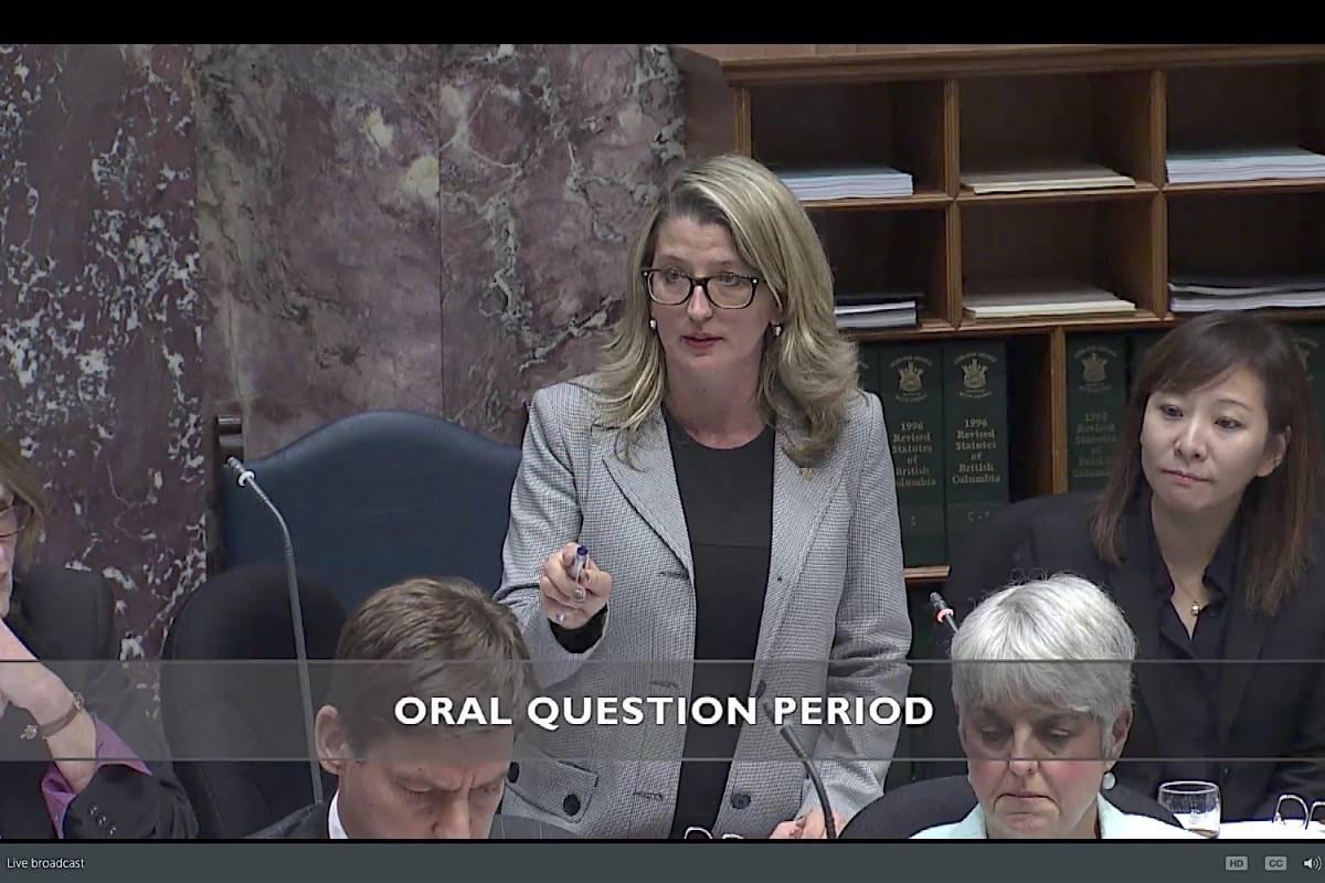 Agriculture Minister Lana Popham takes questions in the B.C. legislature, Oct. 23, 2017. (Hansard TV)