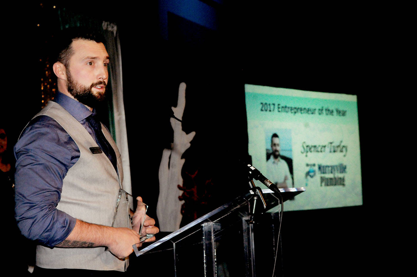 Murrayville Plumbing owner Spencer Turley was crowned 2017 Entrepreneur of the Year during the 21st annual Business Excellence Awards held Thursday, night at the Cascades convention centre ballroom. More photos at  www.langleytimes.com.                                Troy Landreville Langley Times
