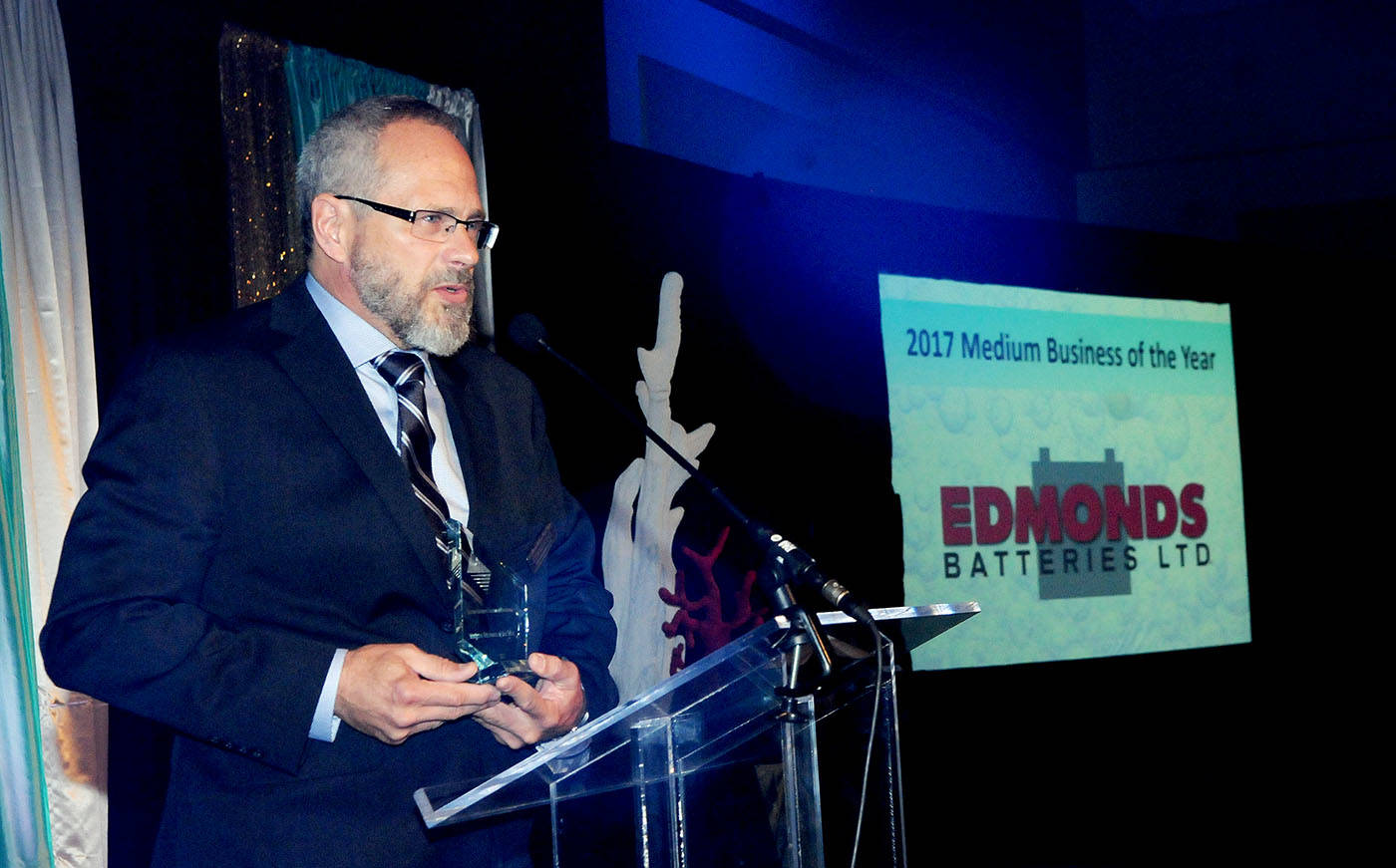Stephen Pal of Edmonds Batteries Ltd. accepted the Medium Business of the Year award on behalf of his company during the Business Excellence Awards at the Coast Hotel ballroom held Thursday, Oct. 26. Troy Landreville Langley Times