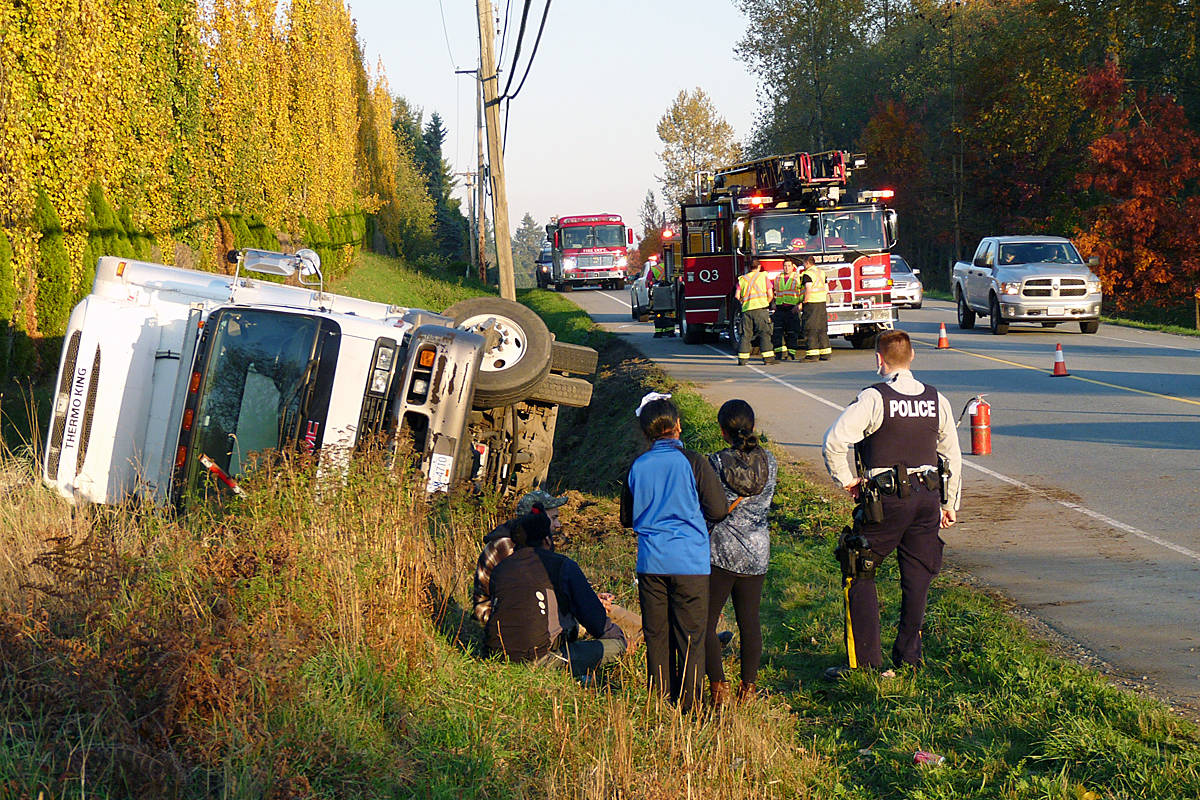 Police and fire responded to a Saturday afternoon truck crash in Langley. Dan Ferguson Langley Times