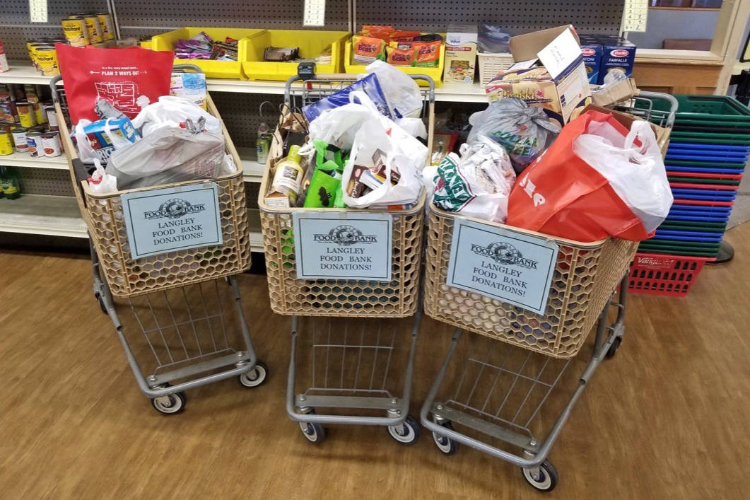 Three shopping carts of donations for the Langley Food Bank was collected during the Township and City of Langley's Household Hazardous Waste Plus Recycling event. Submitted photo