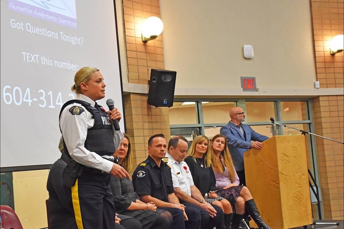 Ridge Meadows RCMP Supt. Jennifer Hyland joins the panel of speakers. (Neil Corbett/THE NEWS)
