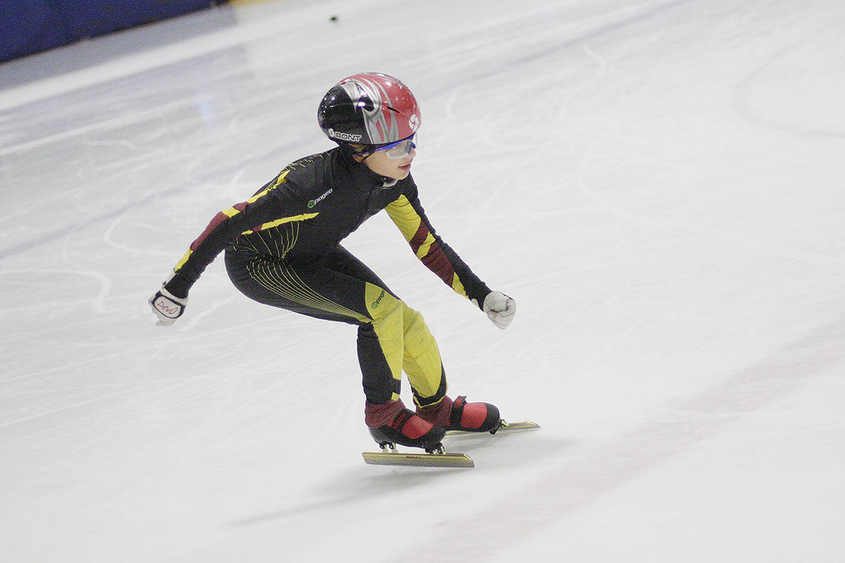 Braxton Grosjean at a Blades practice. He finished first out of 24 competitors in Division 4 ages 10-11 years at an intrasquad speedskating meet at Langley Sportsplex in October. Dan Ferguson Langley Times