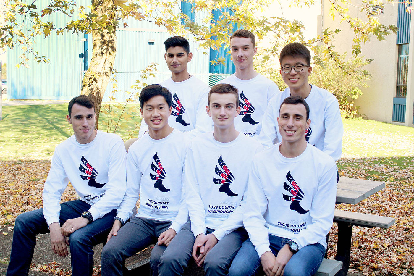 The R.E. Mountain Eagles finished second in senior boys standings at the B.C. high school cross country championships, held Nov. 4 at Jericho Beach in Vancouver. The team includes, back row: Brydon Pires, Jordan Schmidt, and Danny Lee. Front Row: Zach Wyatt, Kenneth Xing, Felix Allen, and Tate Wyatt.