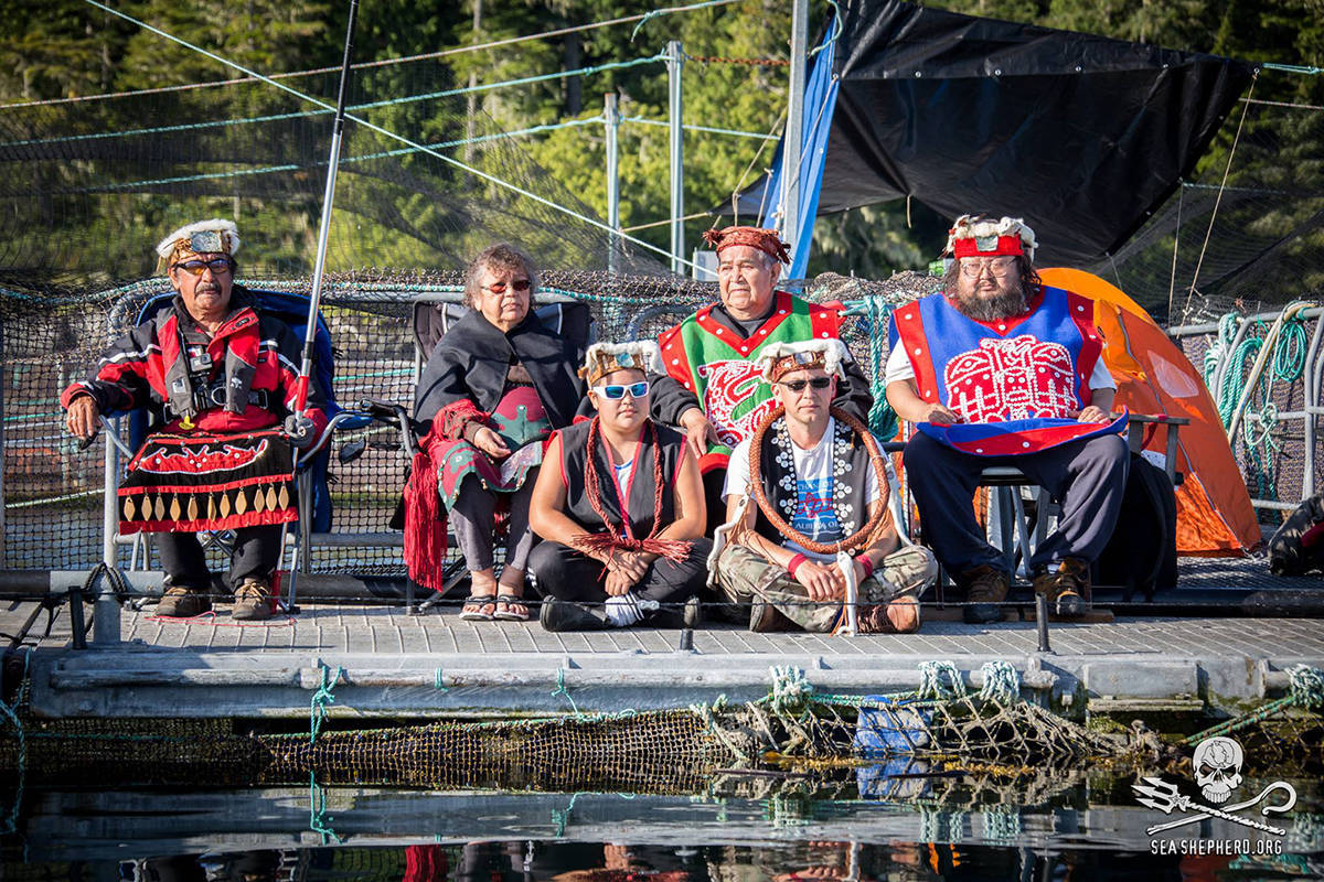 Indigenous protesters occupy Marine Harvest salmon farm at Swanson Island, east of Port Hardy, August 2017. (Facebook)