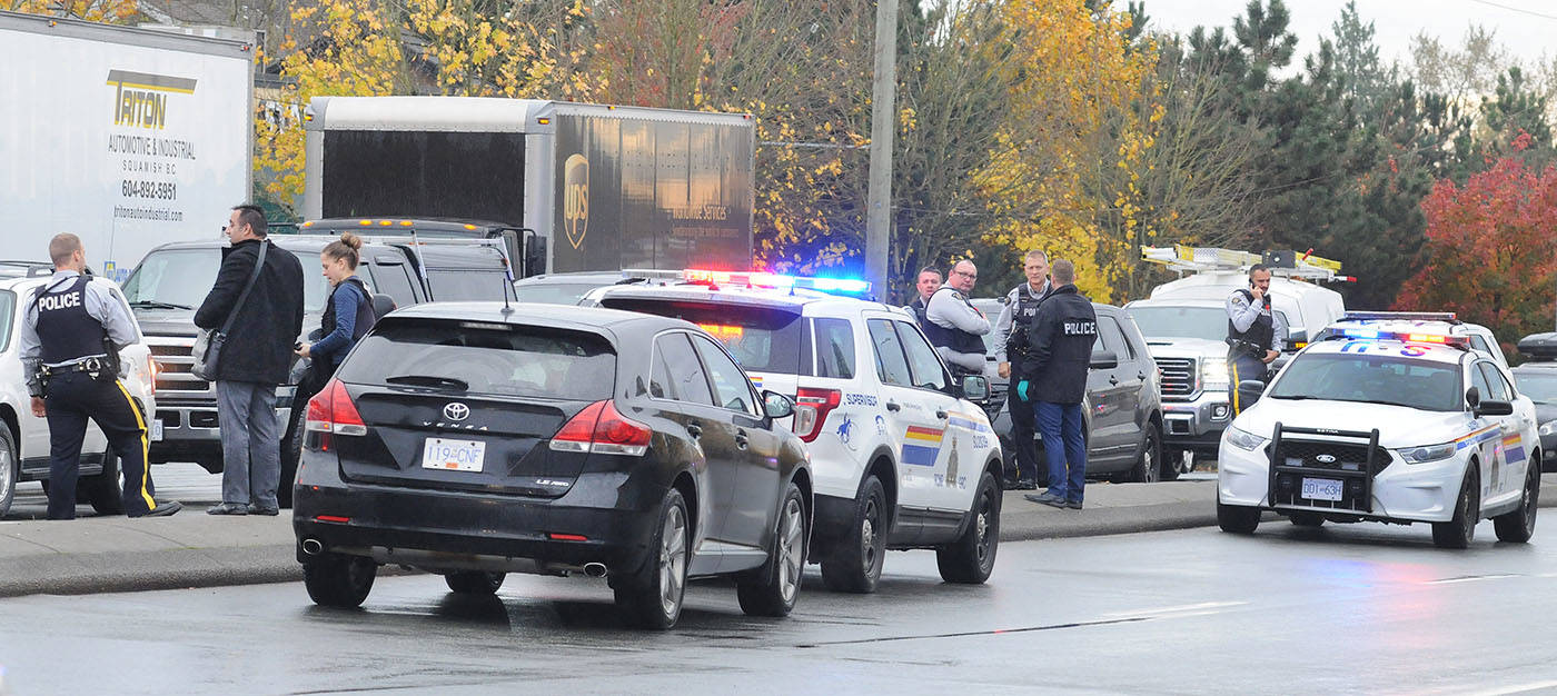 There was a major RCMP presence on 200 Street just south of 72 Avenue around lunchtime Thursday, Nov. 9. Troy Landreville Langley Times