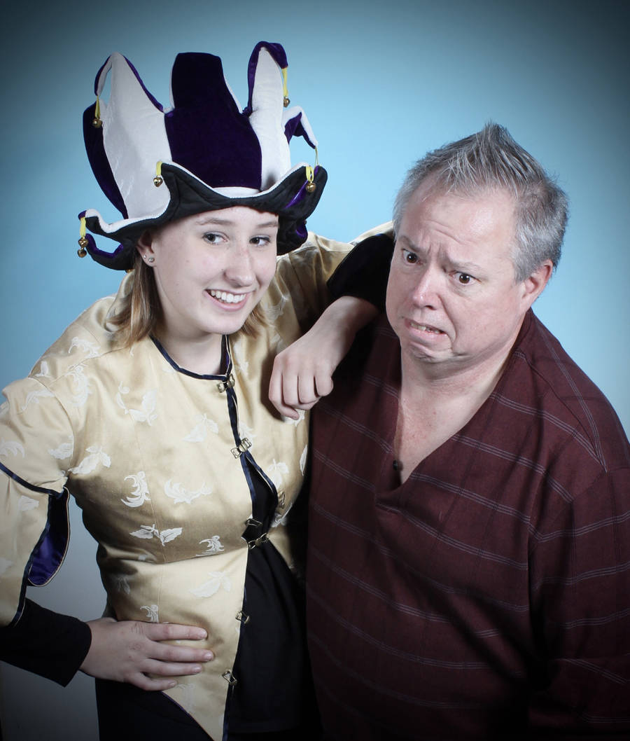 Delaney Gilmour and Langley's Mike Parker star as the Jester and Rumpelstilskin in 'Sleeping Beauty.' The family friendly pantomime runs Nov. 23 to Dec. 17 at the Bernie Legge Theatre in New Westminster.                                Submitted photo