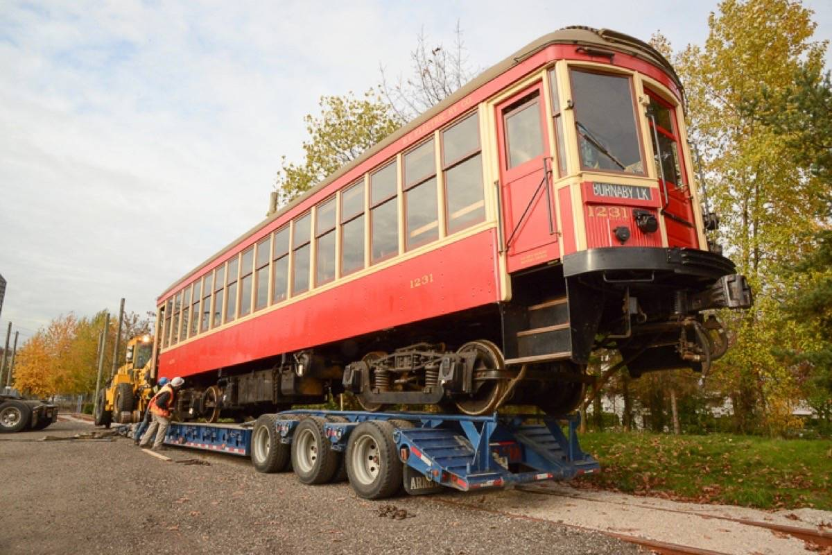 BCER 1231, being loaded early Wednesday morning (Nov. 8), near 6th Avenue and Cambie. (Fraser Valley Heritage Rail Society)