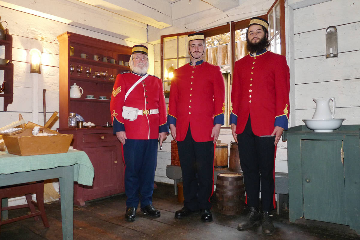 """A group of re-enactors were in costume as members of the Royal Corps of Engineers for Douglas Day at the Fort Langley historic site. (L to R) """"Sergeant"""" Graham MacDonell with """"Sappers"""" Michael Martin and Daniel Holmberg. Dan Ferguson Langley Times"""