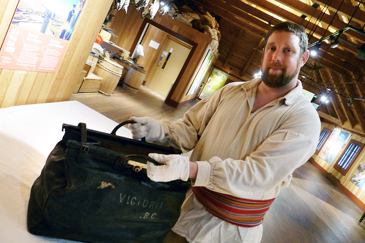 Andrew Bellefontaine shows the satchel owned by Sir James Douglas. Dan Ferguson Langley Times